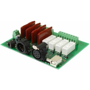 DMX-USB-RX-RLY8 - 4 relays, 4 SSR